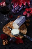 French Blue Cheese, Red Grapes, Scarlet Leaves, Mouldy Cheese And Wineglass