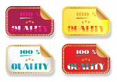 Set of four colourful stickers - violet, yellow, white, red with text 100 percent quality