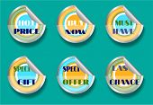 Set of six stickers, text - best price, buy now, must have, special gift, special offer, last chance