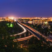 road-rail bridge in evening Kiev. Ukraine