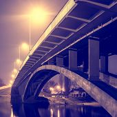 Road bridge illuminated against the dark sky Kiev Ukraine