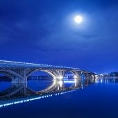 winter Kyiv metro bridge at night