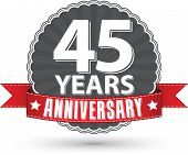 Celebrating 45 Years Anniversary Retro Label With Red Ribbon, Vector Illustration