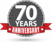 Celebrating 70 Years Anniversary Retro Label With Red Ribbon, Vector Illustration