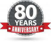 Celebrating 80 Years Anniversary Retro Label With Red Ribbon, Vector Illustration