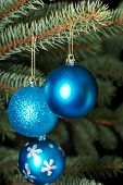 Three christmas balls on a tree. Over tree- green background.