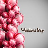 vector holiday illustration of flying red balloon hearts with lettering retro emblem. Happy Valentin