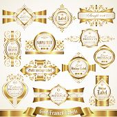 White gold-framed labels set 4