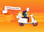 foto of postman  - Courier riding white motorbike to deliver mails to the clients - JPG