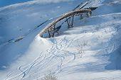 Old ski ramp in the snow