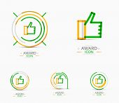 Thumb up icon, logo. Social abstract minimal line design concept