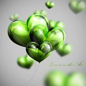 vector holiday illustration of flying bunch of green balloon hearts. Valentines Day or wedding backg