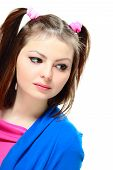 pic of lolita  - Portrait of sad young lady looking to the side on white background - JPG
