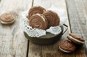 Chocolate Cookies Sable With Cream Cheese