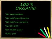 100% Organic Text On Blackboard