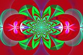 Fabulous Symmetrical Pattern Of The Leaves. Green And Violet Palette. Computer Generated Graphics.