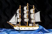 Model White Sailboat With Three Masts..model White Sailboat With Three Masts