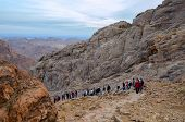 Tourists Descend From The Top Of Mount Moses, Egypt
