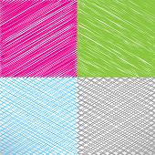Set of pencil and marker hatching backgrounds. Hand-drawn strokes and scribbles. Vector illustration