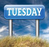 tuesday road sign event calendar or meeting schedule