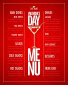 Valentine's day menu list design, place for dishes and drinks.