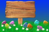 Wooden Sign Surrounded By Easter Eggs