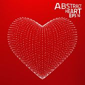 Abstract heart vector background. Lines, point, planes in 3d space.