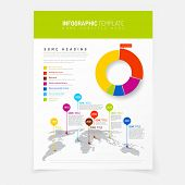 Paper poster with simple world map infographic and flat design pie chart