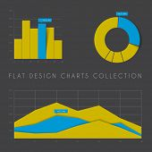 Set of vector flat design infographics statistics charts and graphs - yellow and blue dark version