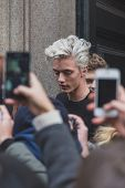 Model Lucky Blue Smith Outside Cavalli Fashion Show Building For Milan Men's Fashion Week 2015