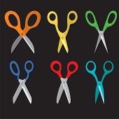 Different Open Scissors Set Style.