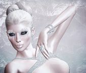 Snowflakes and ice create the unique cosmetics for this beautiful blonde