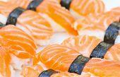 Detailed photo of tasty salmon nigiri sushi
