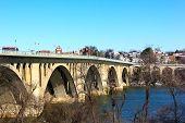 Key Bridge and Georgetown suburb in winter.