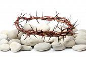 crown made of thorns and white river stones
