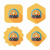 Baby Crib Hanging Toy Flat Icon With Long Shadow,eps 10
