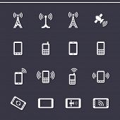 Mobile devices and wireless technology. Vector icons