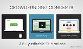 Vector Crowdfunding Concepts Set. Online Fund The Project. Network Donation. Sponsor Using The Inter