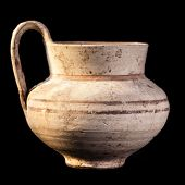 pic of cultural artifacts  - Daunian pot Terracotta Subgeometric style isolated over a black background