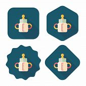 Baby Bottle Flat Icon With Long Shadow,eps 10
