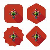 Chinese New Year Flat Icon With Long Shadow,eps10, Lucky Chinese Knot Means