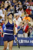 Professional tennis player Eugenie Bouchard celebrates victory after third round march US Open 2014