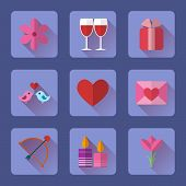 Valentine flat blue rectangle icons set for mobile or web site applications.