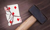 Hammer With A Broken Card, Five Of Diamonds