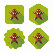 pic of gingerbread man  - Gingerbread Man Flat Icon With Long Shadow - JPG