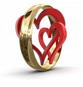 Gold ring and hearts (clipping path included)