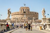 Castel Sant'angelo Fortress And Bridge View In Rome, Italy.