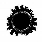 Black City Silhouette Label