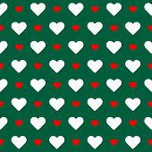 Seamless Pattern. White And Red Hearts Over Green Background.