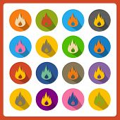 Cartoon flat flames web icons.